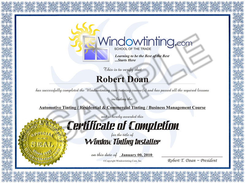 Certificate of Completion from the Window Tinting Training School
